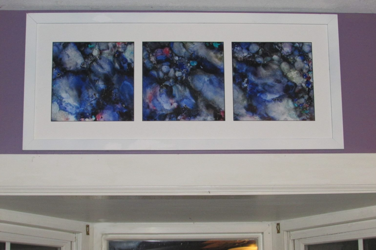 Alcohol ink frame hanging