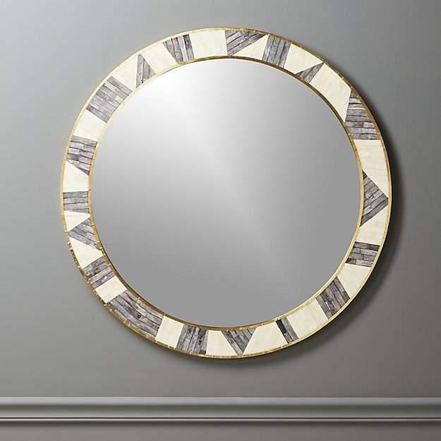 bone inlay round mirror