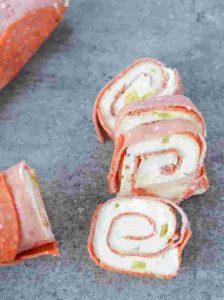 Keto Snacks - Cream Cheese & Salami Keto Pinwheels