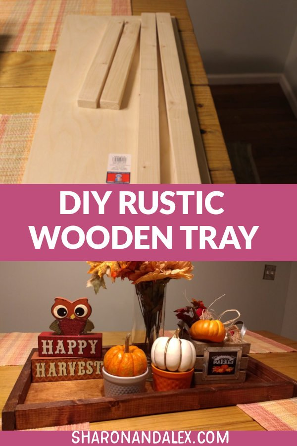 This easy DIY rustic wooden tray is the perfect way to display your holiday decor. Use it as a centerpiece for your table or to keep items grouped together for a tidy look. #homedecor #diy #diyproject #woodentraydiy